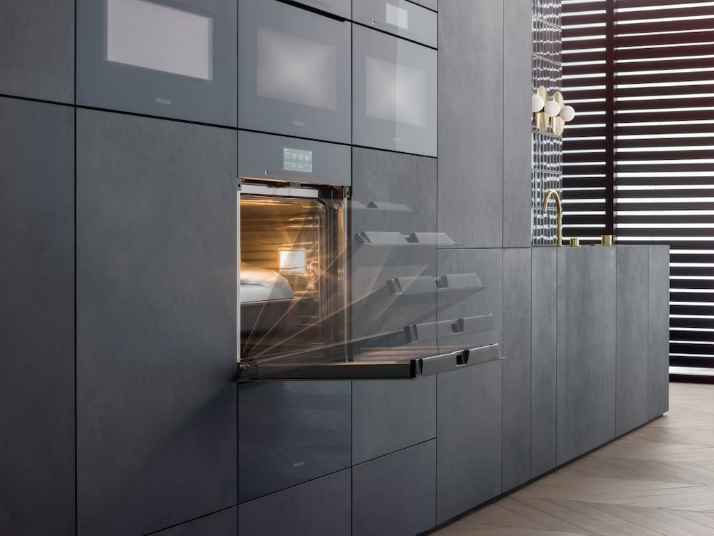 Miele built in oven ArtLine in black kitchen