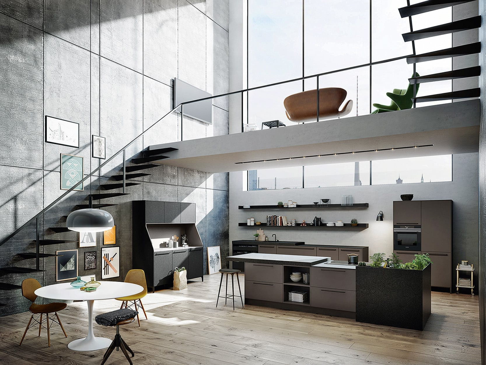 An urban kitchen dining living space with stairs and large windows