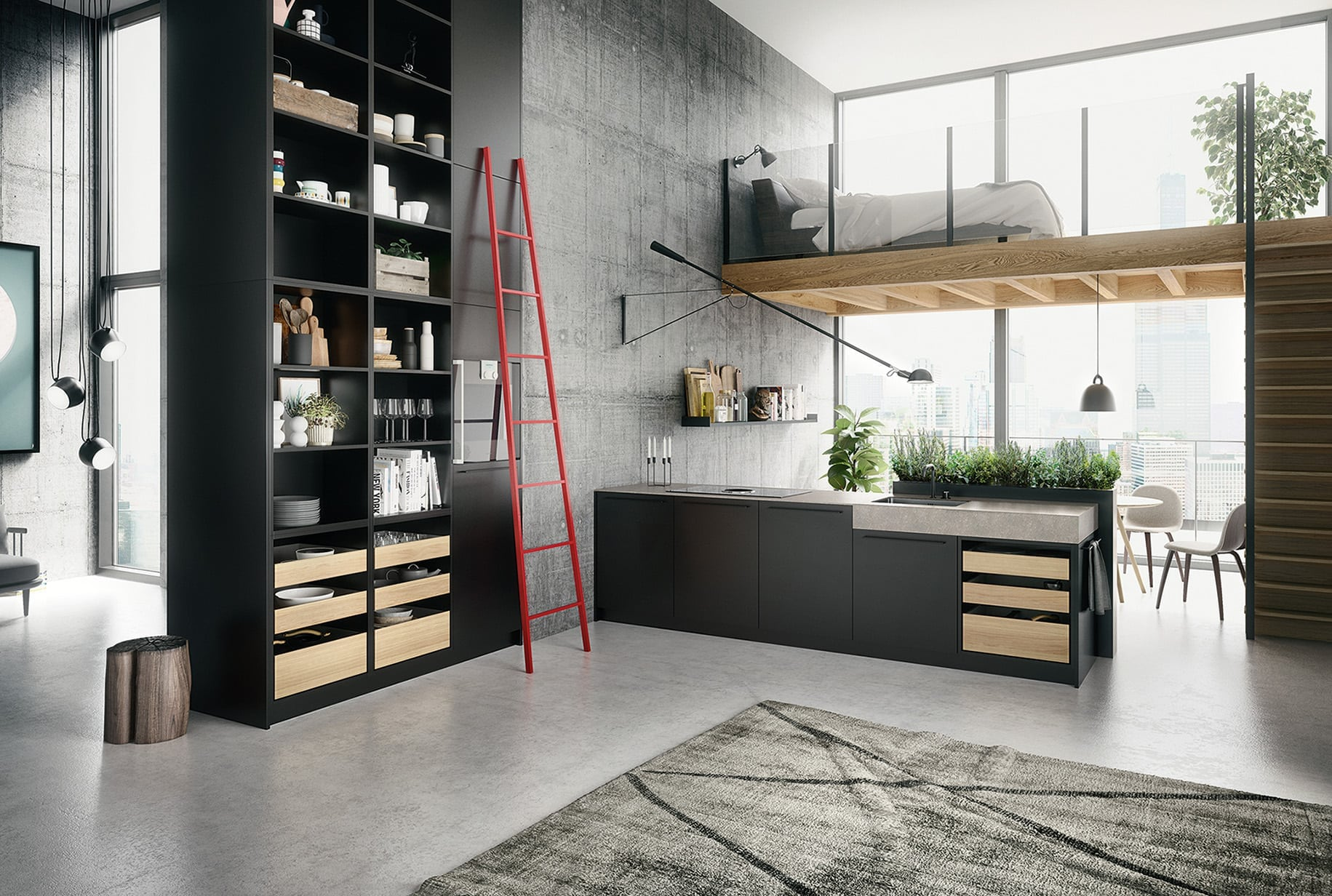 siematic urban kitchen with wooden drawers and red ladder