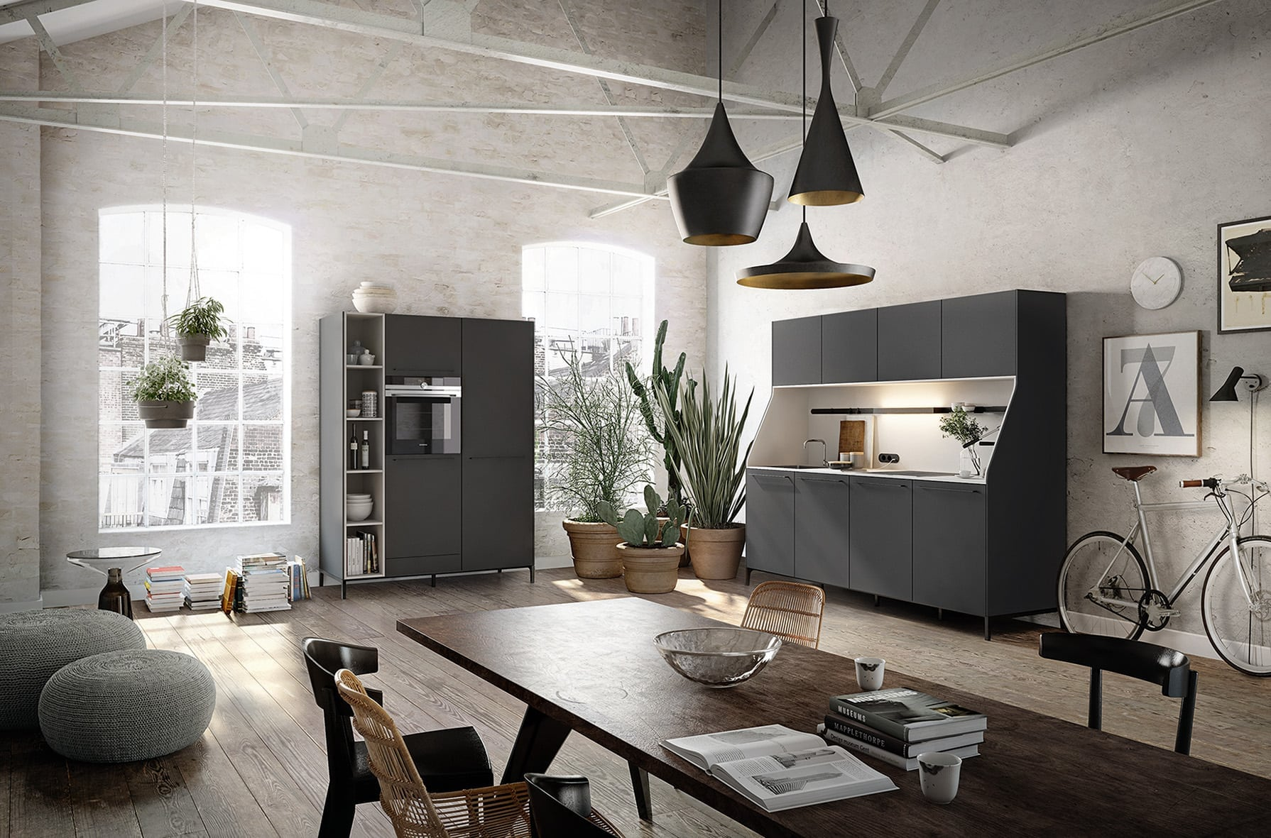Siematic urban style kitchen dining area