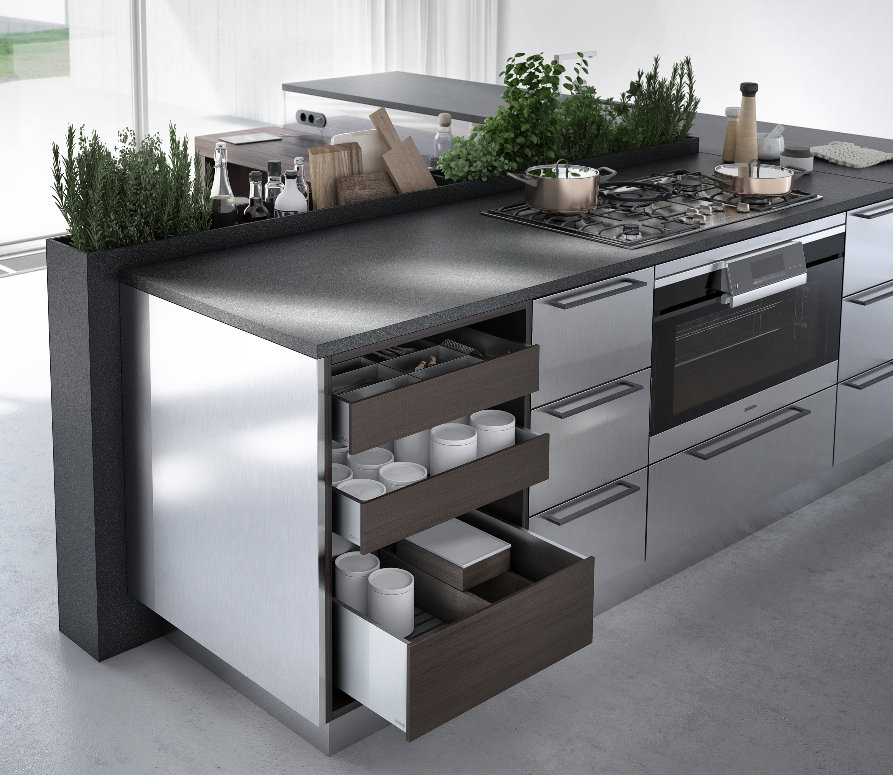 An urban kitchen with plants and wooden storage units