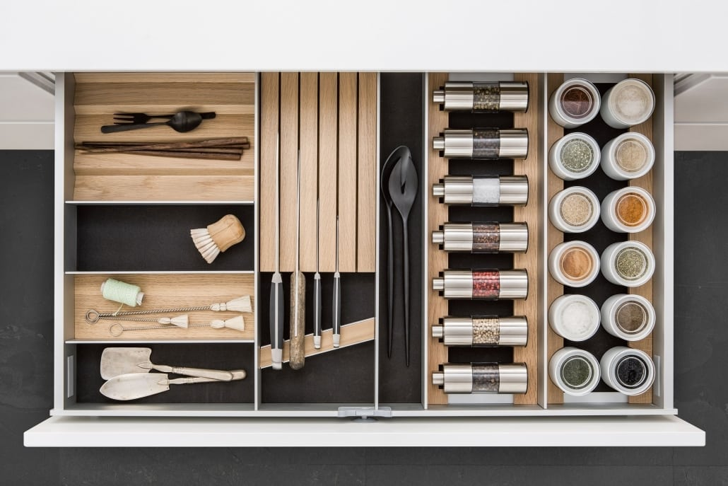 SieMatic cutlery inserts, drawer accessories